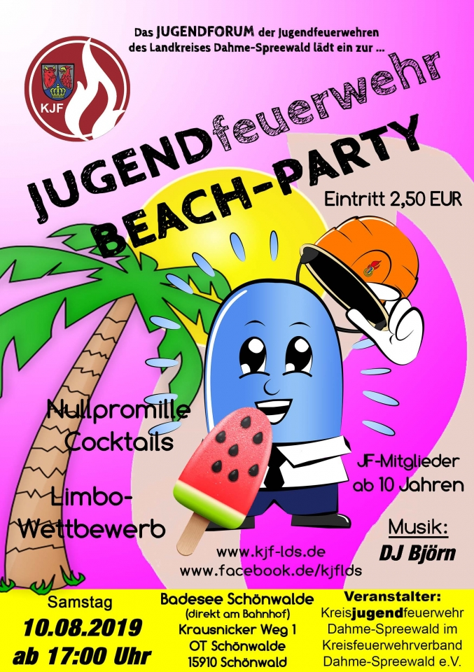 Flyer Jugendfeuerwehr Beach-Party 2019